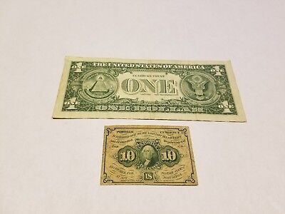 1862 US Fractional Currency George Washington 10 Cent Postage Note Paper Bill
