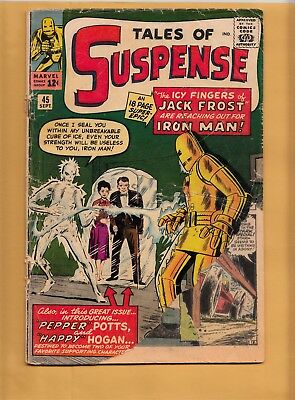 TALES OF SUSPENSE #45 Marvel Comics 1963 Iron Man 1st Pepper Potts Happy Hogan
