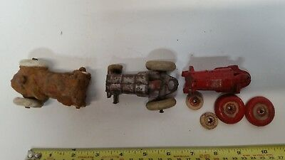 Arcade Vintage Cast Iron Toy.  Farm Tractors And Spreader & Cart