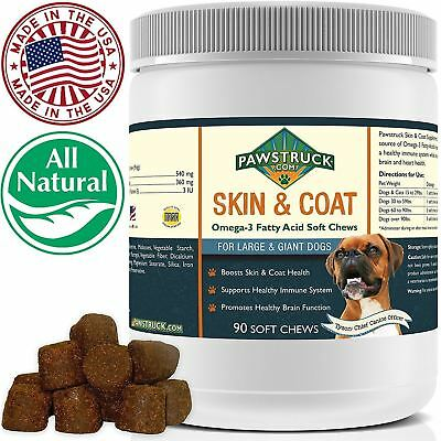 Natural Omega 3 Fish Oil for Dogs & Cats Skin & Coat Soft Chew Supplements