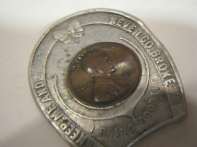 vintage good luck horseshoe 1925 wheat penny good luck charm NEVER GO BROKE