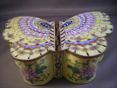 """Rare Cloisonne Box Butterfly Hinged Wings 6 3/4"""" Wide Made In China"""