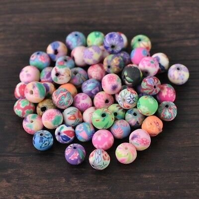50pcs 8mm Mixed Round Polymer Clay Loose Spacer Beads Findings