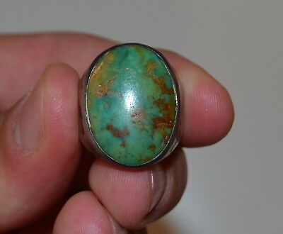 Vintage Antique Silver Navajo Turquoise Ring Large Size