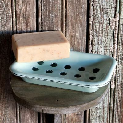 Old Fashioned Distressed Blue Enamelware Two Piece Soap Dish