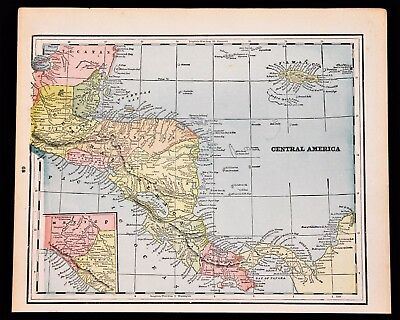 1893 Central America Map Jamaica Panama CanalBelize George Cram ORIGINAL