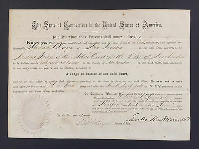 1876 Charles R. Ingersoll (47th Governor of Connecticut) Rare SIGNED Document
