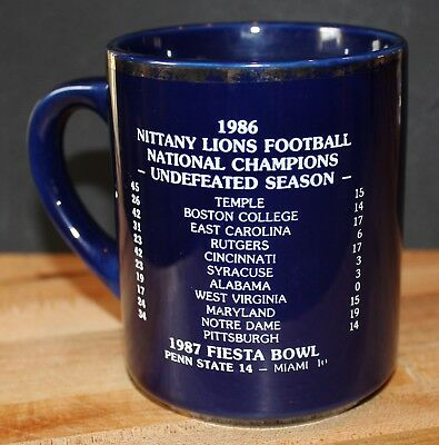 1986 PENN STATE NITTANY LIONS National Championship  Blue COFFEE CUP