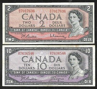 Canada - 2 and 10 Dollar Notes - 1954 - QEII - VF & FINE