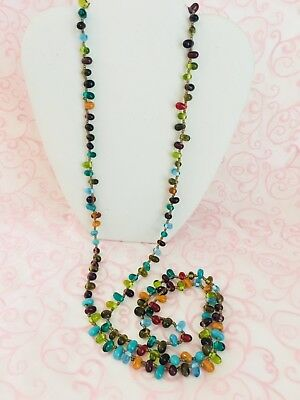 """WOW- - Vintage Estate Turquoise & Multi Color all Glass Beaded 48"""" long Necklace"""