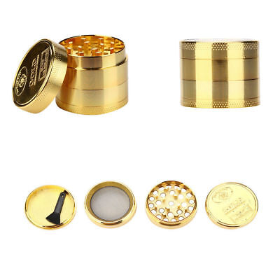 Tobacco Herb Grinder Spice Herbal Alloy Smoke Crusher Metal Chromium Gold New US