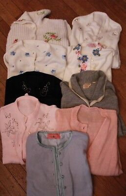 Lot of Vintage Sweaters 50s 60s Beaded Wool Cardigan Pink Embroidered