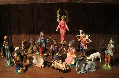 "Vintage FONTANINI Nativity Set, DEPOSE ITALY, 5 1/2"" Figures, ""Spider"", 1960's"