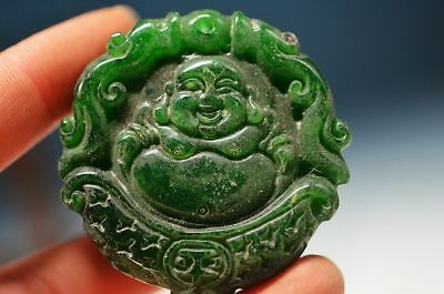 Exquisite Chinese green old jade hand carved *Maitreya Buddha* lucky pendantha13