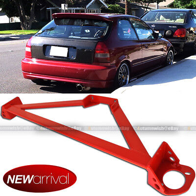 Fit Civic Integra Stainless 3 Point Red Front Upper Strut Tower Brace Bar