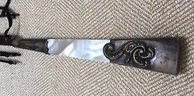 Vintage / Antique Umbrella w/ Sterling Silver & Mother of Pearl Handle