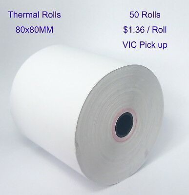 50 Rolls 80x80mm EFTPOS Roll Thermal Paper Cash Register Receipt VIC Pickup Only