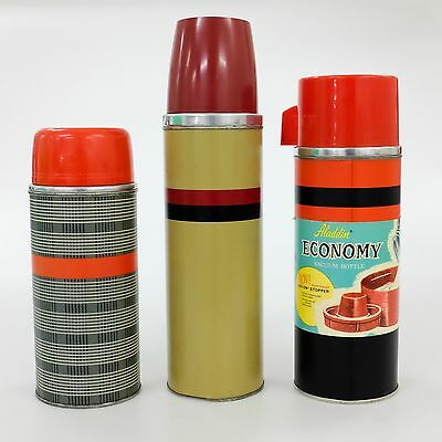 Set of 3 Vintage Metal Thermoses 1950s 1960s Aladdin Thermos Brand Retro Decor