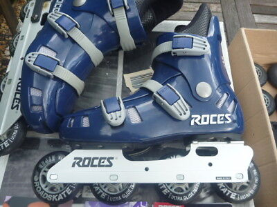 Roces In Line Skates Boxed Navy Blue Spare Wheels Ultra Glide Uk 8 Bauer Gloves