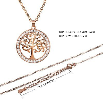 Women's 925 Sterling Silver Zirconia Inlaid Tree of Life Pendant Necklace Chain