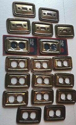 1968 Kirsch Brass Toned Metal Light Outlet Plates Huge 18 Piece Lot Gold VIntage