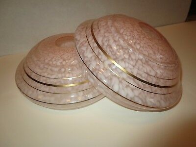 Pair of Vtg Mid-Century Mottled Pink Glass Lamp Shades or Ceiling Light Fixtures