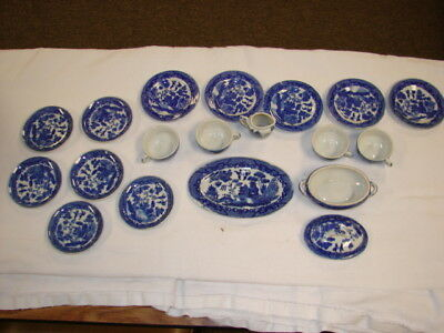 Vintage Childs Doll Tea Set Dishes Miniatures Toy Set Blue & White Made In Japan