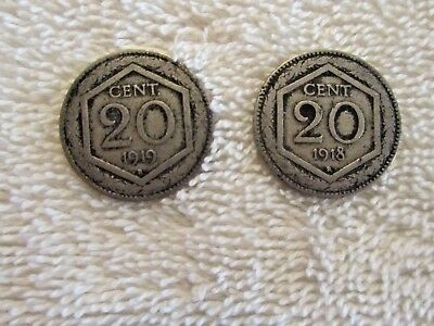 1918R & 1919R Pair of ITALY 20 Cent. Coins
