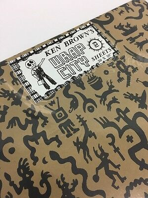 """Vintage Ken Brown's Wrap City Gift Wrapping Paper - 2 Sheets 20""""x30"""""""