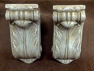 Antique Finish Shelf Acanthus Leaf Wall Corbel Sconce Bracket Pair