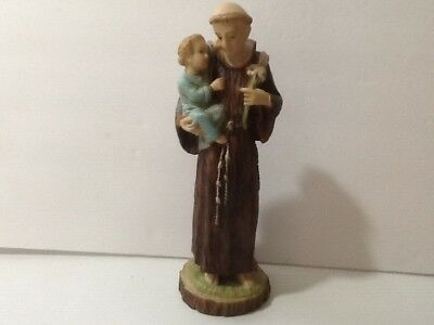 "Vintage Resin? St. Anthony Statue Made in Italy 9.5"" tall/Hand Painted"