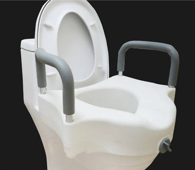 Medical Deluxe Elevated Raised Toilet Seat with Removable Padded Arms