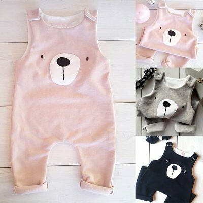 Newborn Baby Boy Girls Romper Jumpsuit Bear Sleeveless Bodysuit Outfits Clothes
