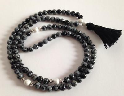 Snowflake Obsidian Natural beads 6mm mala cuff bracelet 108 men yoga necklace