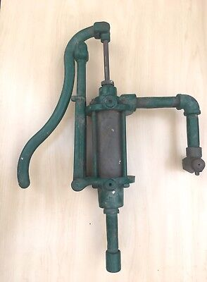 Vtg Original Brass & Iron Antique OIL PUMP Crank Gas Shop Dispenser for Lubster