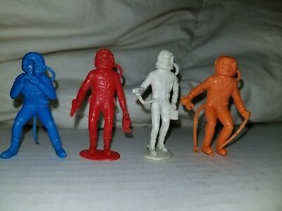 4, Marx Astronaut Assorted Mystery Space Ship 1960s Vintage Plastic Play Figure