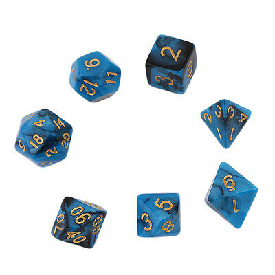 Creative Dual Color Mixed Series 7 Pcs Set Multi-Faceted Acrylic Dice  VC
