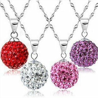 Fashion Women 925 Sterling Silver Chain Crystal Rhinestone Necklace Pendant  VC