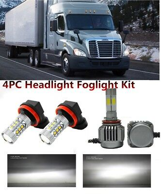 4pcs Freightliner Cascadia LED Headlight Bulbs 6500K Low Beam + Foglight 2008-17