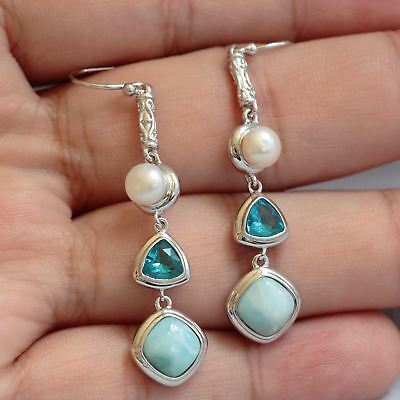 Solid 925 Sterling Silver Natural Larimar Blue Topaz Gemstones Jewelry Earrings