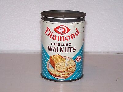 Vintage Diamond Shelled halves & pieces Walnuts empty tin with cover no size