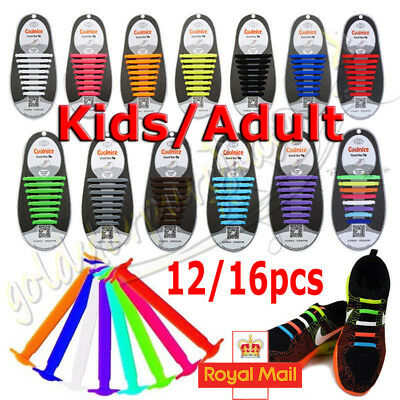 Easy No Tie Elastic Silicone Shoe Laces For Adults & Kids Trainers Shoes Canvas