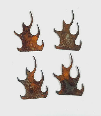 """Lot of 4 Flame Fire Shapes 3"""" Rusty Metal Vintage Ornament Craft Sign DIY"""