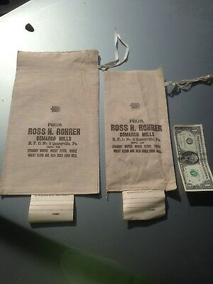 2 Ross Rohrer Feed Bags, Quarryville Solanco PA.  Lancaster Farm Ag Advertising.