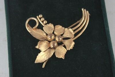 Vintage Sharmaine Paris Rolled Gold Flower Spray Brooch Floral French Signed