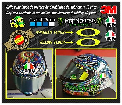 Decal-stickers-pegatinas-adesivi-SET VISERA CASCO VALENTINO ROSSI Temporada 2018