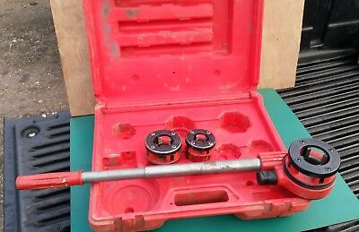 Rothenberger ratchet pipe threading set 1&1/4 1 3/4 cased threader rigid presto