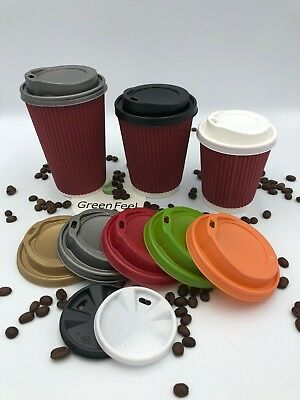 1000 x 8oz Red Ripple Wall Paper Cups Insulated Cups For Hot Drinks With Lids