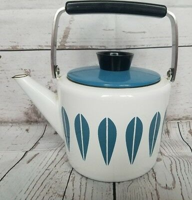 Vtg Cathrineholm Blue White Teapot Kettle Coffee Pot Mid Century Norway HTF