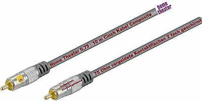 Home Theater 0,75 -10M Cinch Cable, Composite subwooferkabel HQ Cable A/V 75Ω